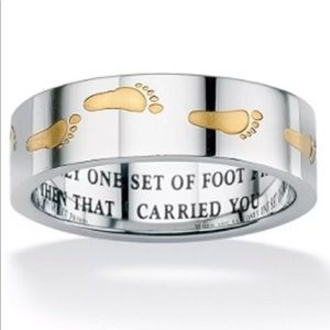 Footprints in the Sand Ring Gold Stainless Steel